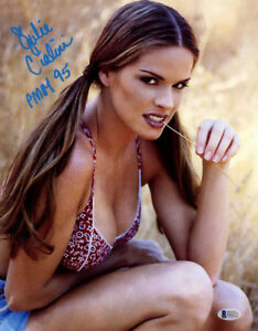 JULIE CIALINI SIGNED 11x14 PHOTO + PMOY 95 PLAYBOY PLAYMATE RARE BECKETT BAS