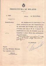PREFETTURA MILANO 1922 - EMISSIONE ONORIFICENZA CAVALIERE CORONA D'ITALIA 19-145