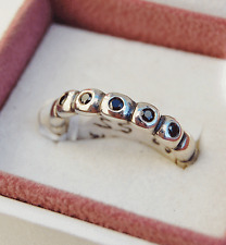 Genuine Pandora Silver Ring of Ovals with Black CZ - 190829CZK Size 52 - retired