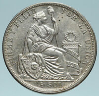 1914 PERU South America 1/2 SOL Genuine Original Silver Peruvian Coin i83161