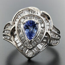 2.0ctw DIAMOND AND PEAR TANZANITE 14K WHITE GOLD RING SIZE 7.25