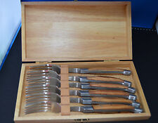 6 Laguiole Steakgabeln m. Schalen aus Olivenholz- passend zu uns. Steakmessern