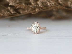 14K Rose Gold Plated 1.25 Carat Oval Cut Diamond Accented Halo Engagement Ring