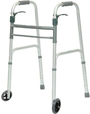 "ProBasics 2 Button Folding Youth Walker 1062Y 5"" Wheels Traditional Grey New"