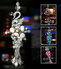 White Crystal swan pendant car interior Mirror Hanging Ornament Accessories UK