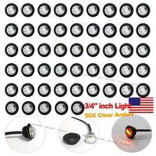 """50X 3/4"""" Clear Lens Amber Light LED Marker Bullet Lights Lamps Truck Trailer Bus"""