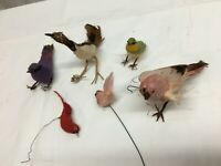 VTG Lot of 6 Clip on Red Tree ornaments Bird Feathered  feathers