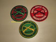 3 Vintage NRA PATCH Lot NATIONAL RIFLE ASSOCIATION Award MARKSMAN 1st Class PRO