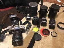 New ListingCanon Ft Ql 35mm Slr Film Camera Bundle With Lenses + Zoom + Flash + + Authentic