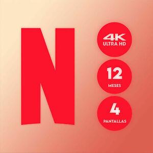 NETFLIX 4k 1 AÑO (𝟏𝟐 𝐌𝐄𝐒𝐄𝐒) | 4 DISPOSITIVOS