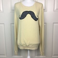 BRAND NEW WILDFOX Yellow With Gray Mustache Design Longsleeve Sweater Top Size S