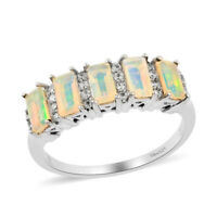 925 Sterling Silver Platinum Over Opal White Zircon Ring Jewelry Gift Ct 1.2