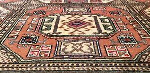 "Bohemian Vintage Cr1950-1960's  Wool Pile Natural Dye Area Rug 6'6""×9'4"""