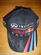 Sebastien Vettel & Mark Webber firmado Red Bull Racing F1 Cap * Raro *