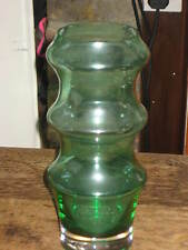 LARGE DARTINGTON CRYSTAL GLASS VASE MODERNIST SHAPE GREEN