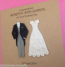 HANDMADE PERSONALISED CONGRATULATIONS ON YOUR WEDDING CARD BRIDE GROOM