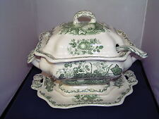 MASONS GREEN FRUIT BASKET MEDIUM SOUP TUREEN INCLUDING LADLE AND UNDERPLATE.