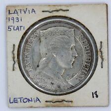 LATVIA SILVER COIN 5 LATI 1931