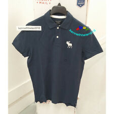 ABERCROMBIE & FITCH MENS EXPLODED ICON STRETCH POLO SHIRTS NAVY BLUE SIZE LARGE