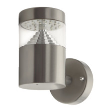 Illucio LED IP44 Outdoor Wall Light in Brushed Steel