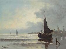 """unleserlich signiert """"Boote vor Küste"""", Öl/Leinen, gerahmt (237/12057)"""