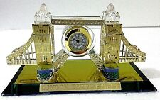 London Tower Bridge with Clock Gold Crystal Glass Souvenir Shiny Ideal Gift Box