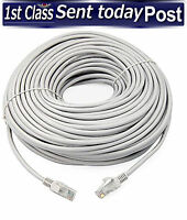 20m Meter RJ45 Cat5e Network LAN Cable UTP Ethernet Patch Lead WHITE Fast Cat 5e