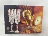 Cristal D'arques Leaded Crystal MASQUERADE - Set of 4 Champagne Flutes Glasses