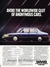 1992 SAAB 900 Sedan Original Advertisement Print Art Car Ad J754