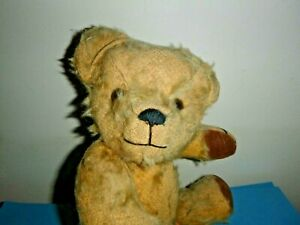 VINTAGE STRAW FILLED WELL LOVED HAPPY LOOKING BEAR ? C 1950'S 13 INCHES