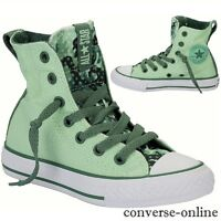 KIDS Girls Boys CONVERSE All Star GREEN PARTY HI TOP Trainers Boots SIZE UK 10.5