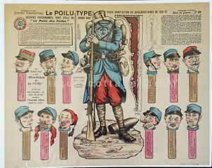 antique MORINET ART SOLDIER faces GRANDES CONSTRUCTIONS no 17 FRENCH PAPER DOLL