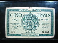 ALGERIA 5 FRANCS 1942 FRENCH ALGERIE 76# Currency World Money Banknote