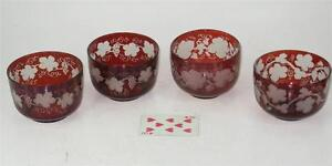 4 Red ANTIQUE BOHEMIAN GLASS BOWLS RUBY FLASHED ENGRAVED COPPER WHEEL GRAPE LEAF