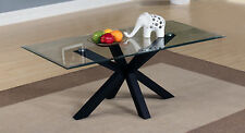 Coffee Table Clear Glass Rectangle Top Black Gloss Base