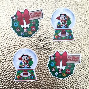4 x Christmas Disney Flatback Planar Resin Embellishment Crafts Bow UK Seller
