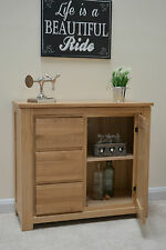 Stratton Oak Modern Small Sideboard / Cabinet 4 Drawers & Cupboard / Solid Wood