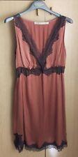 Abito Vestito donna stile sottoveste rosa antico, MYF ITALIA, 100% seta, Tg.S