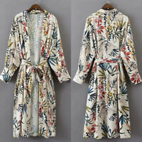 UK 8-24 Women Lace-up Open Front Long Floral Tops Kimono Coat Outweat Cardigan