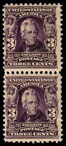 US #302 1903 3c Jackson, Bright Violet, 2 MNH V. Pair. SCV $280. KP-011