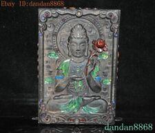 "8""Tibetan Buddhism Meteorite iron inlay gem Tara Kwan-Yin GuanYin Buddha statue"