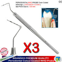Parodontale de diagnostic Sonde dentaire de WHO SONDE FURCATION COLORE 3er Set