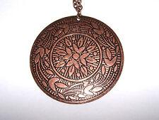 "Vintage Modernist Large Copper Flower Pendant on a 30"" chain"