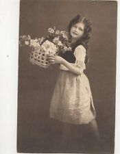 Children Girl With Flowers 1913 Postcard 235b