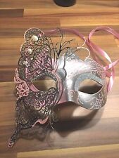 Venetian Masquerade Mask Filigree Silver Pink Metal Diamonte Ball Prom Halloween