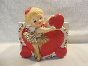 Vintage Lefton Japan Ceramic Valentines Day Ballerina Girl Planter #7701