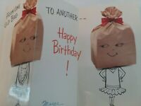 Vtg ANTHROPOMORPHIC Lady From One OLD BAG To Another BIRTHDAY GREETING CARD