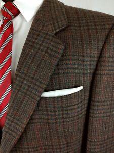 English Manor 2Button Brown Windowpane Wool Sport Coat Jacket Plaid Check 42/43R