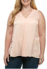 New Directions Feels Like Silk Slight Crinkle Woven Fabric V Neck Tank 2X Pink