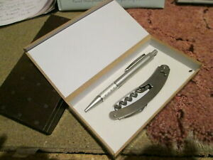 joblot of Pen and bottle opener sets in presentation boxes cork screw x lot of 3